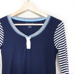 Tommy Hilfiger Navy button striped shirt